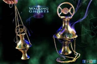 Tripple Moon Goddess Hanging Brass Incense Burner Wicca Altar Cleanse Witchcraft
